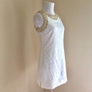 "Lilly Pulitzer White & Gold ""Donna"" Romper NWOT"